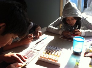 Students at Siempre in Tijuana, Mexico working on their block designs