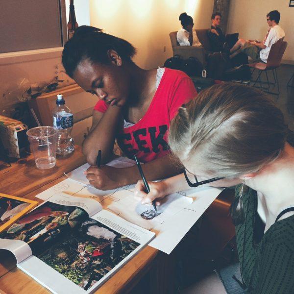 Visual Art interns Marcia and Rachel
