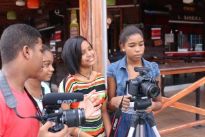 "Students in Santo Domingo D.R. working on their original film ""Los Diez Mandamientos."""