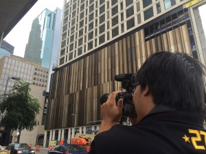 Binh shooting video in downtown Minneapolis